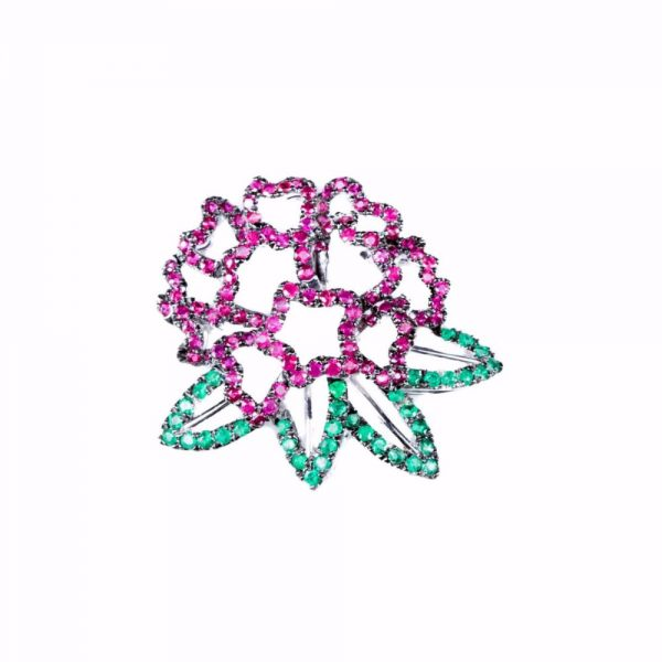 Evergreen Ruby Rhododendron Accent Brooche