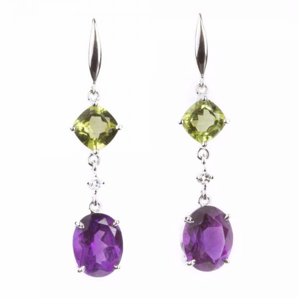 Colours Peridot, diamond and Amethyst Earring