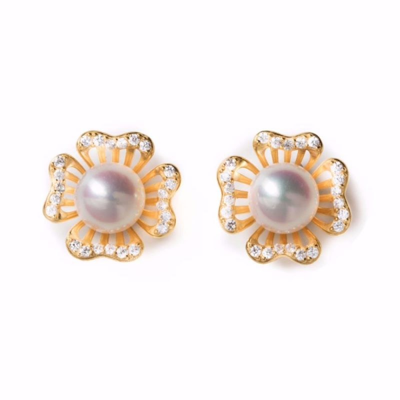 Irridescent Floral Pearl Jacket Earring