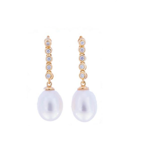 Iridescent Diamond and pearl Earring