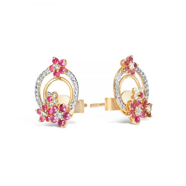 Round Ruby Blossom Earring