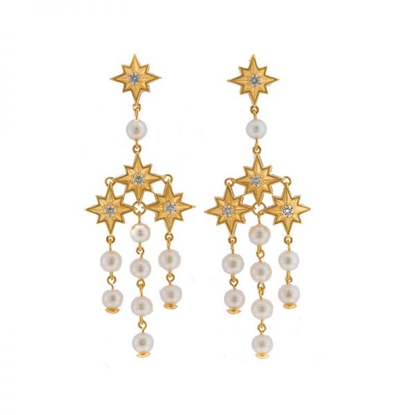 Gold Shining Star Chandeliers Earrings from Kajal Naina