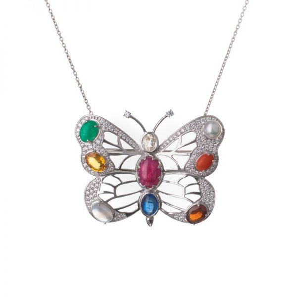 Gold | Diamond Butterfly Necklace Online from Kajal Naina