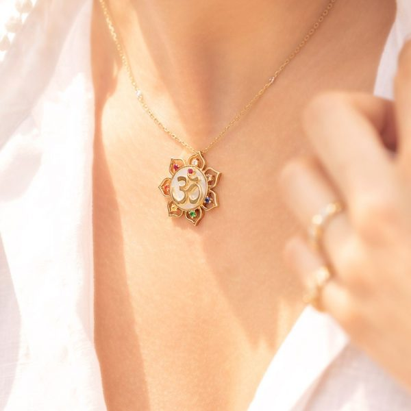 Bliss- Aum on Lotus Necklace