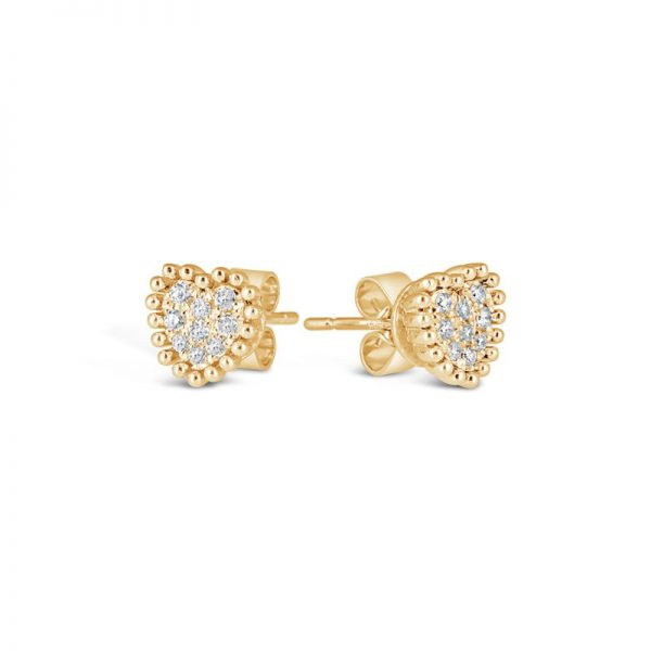 Bling Gold Heart Stud Earrings online from Kajal Naina