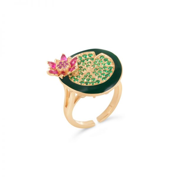 Gold | Tsavorite Lotus | Flower Ring online from Kajal Naina